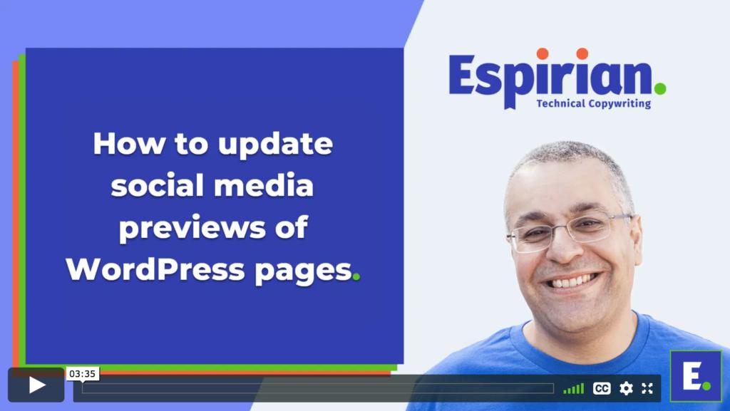 Update social media previews WordPress