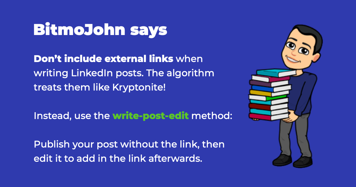Use the write-post-edit method to add links the smart way on LinkedIn posts