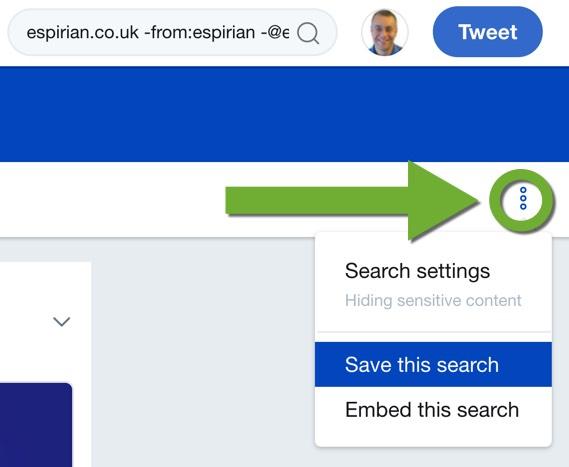 Saving a search on Twitter desktop