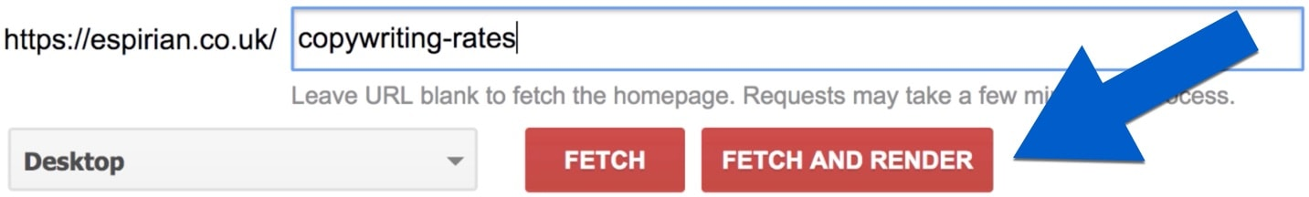 Fetching and rendering a page in Google Search Console