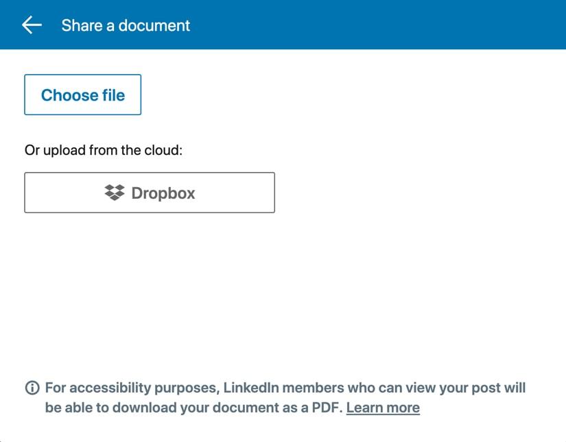 Choose a document to share on LinkedIn