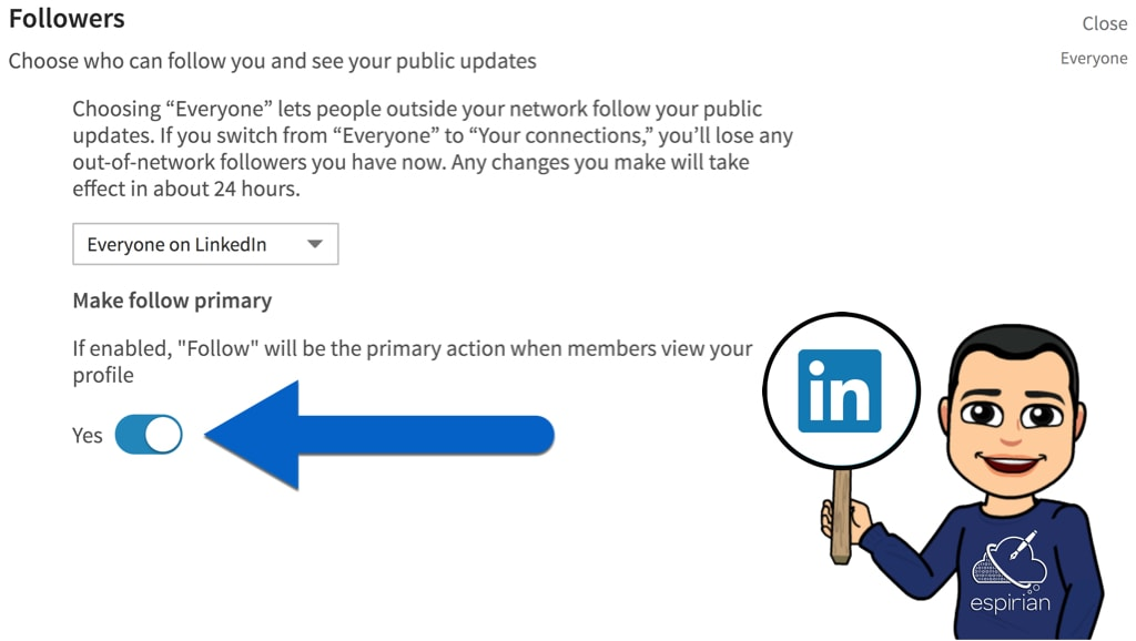 Make Follow the default option on your LinkedIn profile