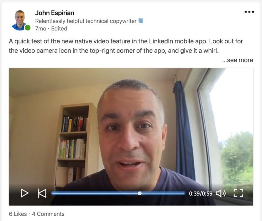 LinkedIn native video sample