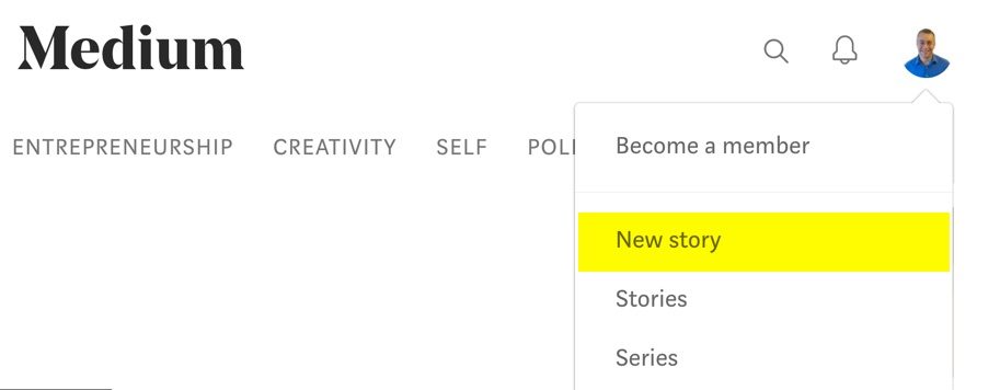 Start a new Medium Story