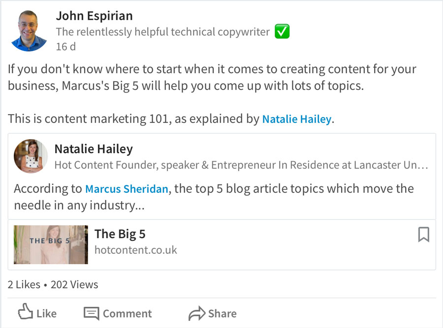 Tagging a LinkedIn user in a shared post